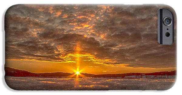 Sunset In Norway iPhone Cases - A Norwegian sunset iPhone Case by Rose-Maries Pictures