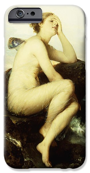 Young Paintings iPhone Cases - A Nymph by the Sea iPhone Case by Wilhelm Kray