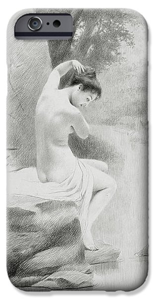 Feminine Drawings iPhone Cases - A Nymph iPhone Case by Charles Prosper Sainton