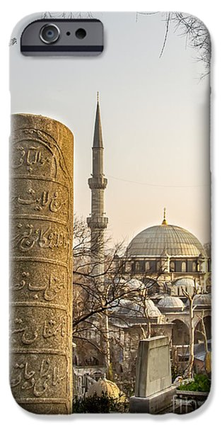 Headstones iPhone Cases - A Ottoman Gravestone And Eyup Sultan Mosque At Eyup Istanbul iPhone Case by Leyla Ismet