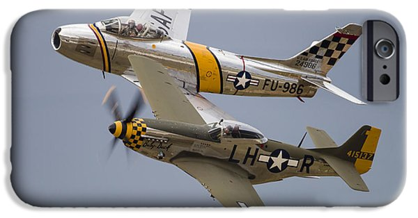 North American Aviation iPhone Cases - A P-51 Mustang And F-86 Sabre iPhone Case by Rob Edgcumbe