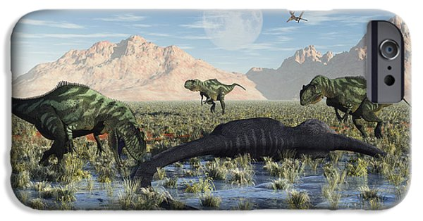 Concept Digital Art iPhone Cases - A Pack Of Carnivorous Yangchuanosarurs iPhone Case by Mark Stevenson