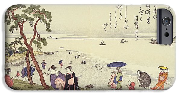 Beach Landscape iPhone Cases - A Page from the Gifts of the Ebb Tide iPhone Case by Kitagawa Utamaro