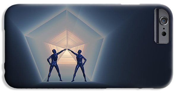 Cyberspace Digital Art iPhone Cases - A Pair Of Androids Opening Up A Time iPhone Case by Mark Stevenson