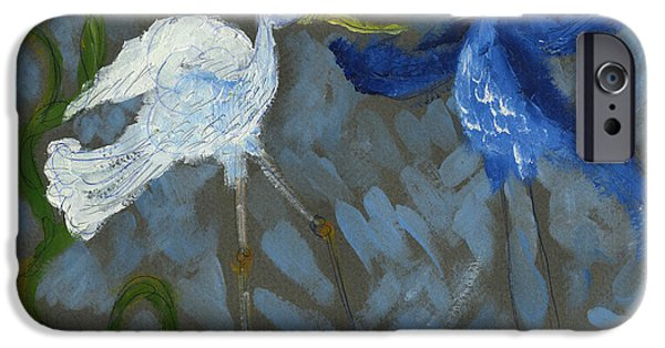 Printmaking iPhone Cases - A pair of Birds in Paradise  iPhone Case by Cathy Peterson