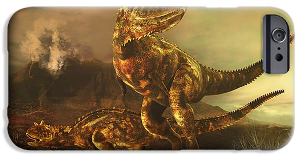 Wildlife Disasters iPhone Cases - A Pair Of Carnotaurus Dinosaurs iPhone Case by Philip Brownlow