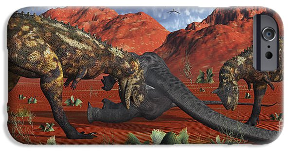 Food Paining iPhone Cases - A Pair Of Carnotaurus Dinosaurs Ready iPhone Case by Mark Stevenson