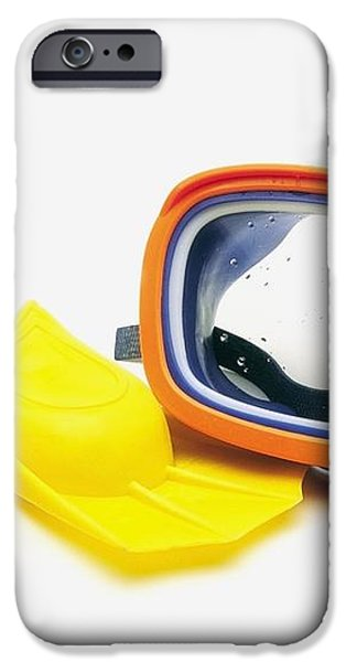 A Pair Of Flippers And Underwater Mask iPhone Case by Ron Nickel