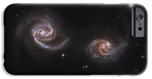 Merging iPhone Cases - A Pair Of Interacting Spiral Galaxies iPhone Case by Roberto Colombari