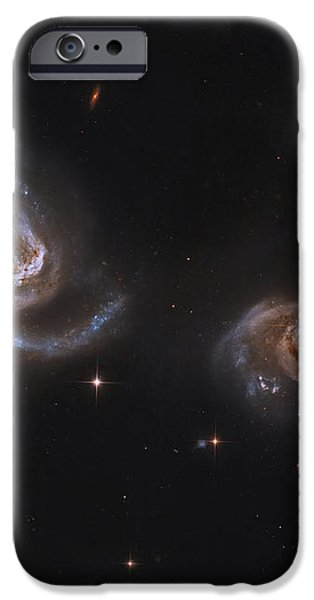 A Pair Of Interacting Spiral Galaxies iPhone Case by Roberto Colombari