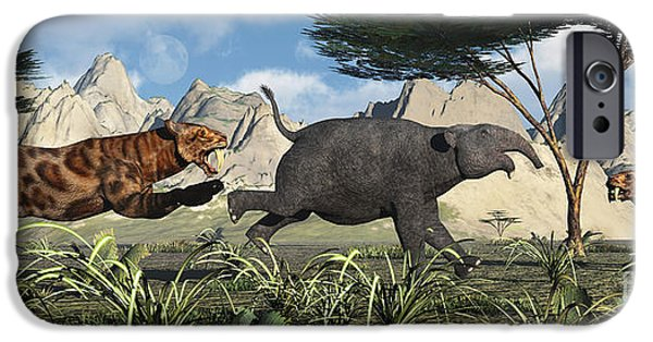 The Tiger iPhone Cases - A Pair Of Sabre-toothed Tigers Chasing iPhone Case by Mark Stevenson