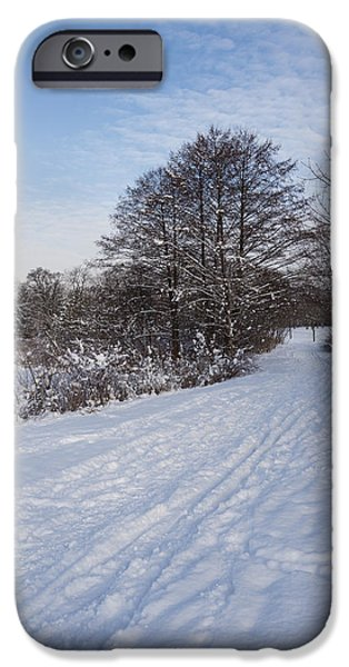 Snowbank iPhone Cases - A Pale Blue Snowday  iPhone Case by Georgia Mizuleva