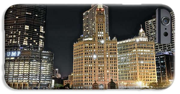 Wrigley Field iPhone Cases - A Panoramic Night in Chicago iPhone Case by Frozen in Time Fine Art Photography