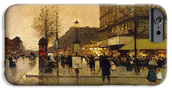 Jacques Lieven iPhone Cases - A Parisian Street Scene iPhone Case by Eugene Galien-Laloue