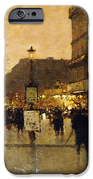 A Parisian Street Scene iPhone Case by Eugene Galien-Laloue