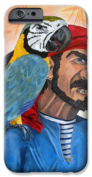 Pirate Ship iPhone Cases - A Parrot and his Pirate iPhone Case by Ben McKenna