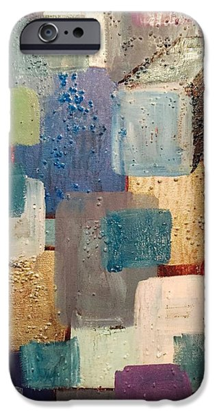 Multimedia Paintings iPhone Cases - A Patchwork Of Blues iPhone Case by Edward Paul