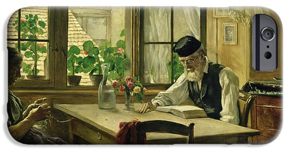 Interior Still Life iPhone Cases - A Peaceful Sunday iPhone Case by Hans Thoma