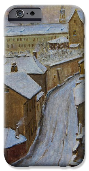 Snow Scene iPhone Cases - A Perfect Winter Night iPhone Case by Xueling Zou
