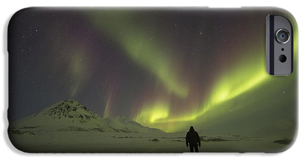 Blackstone River iPhone Cases - A Person Stands On The Frozen iPhone Case by Robert Postma
