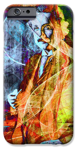 Relativity iPhone Cases - A Person Who Never Made A Mistake Never Tried Anything New - Einstein in Abstract 20140908 iPhone Case by Wingsdomain Art and Photography