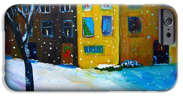 Phillies Paintings iPhone Cases - A Philly Snowfall iPhone Case by Marita McVeigh