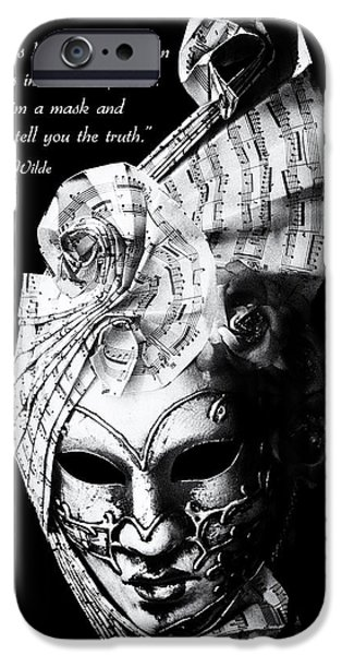 A picture of a venitian mask accompanied by an Oscar Wilde quote iPhone Case by Nila Newsom
