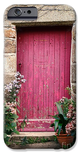 French Doors iPhone Cases - A Pink Door iPhone Case by Olivier Le Queinec