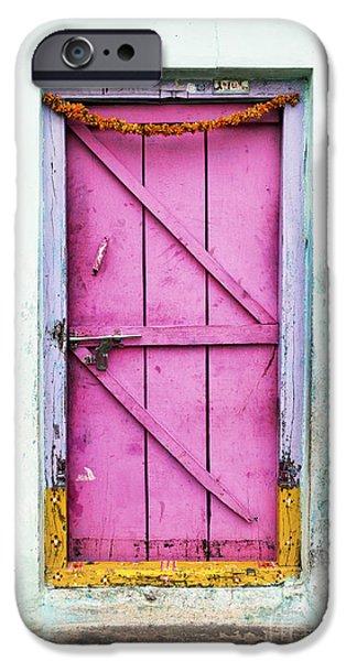 Wooden Door iPhone Cases - A Pink Door iPhone Case by Tim Gainey