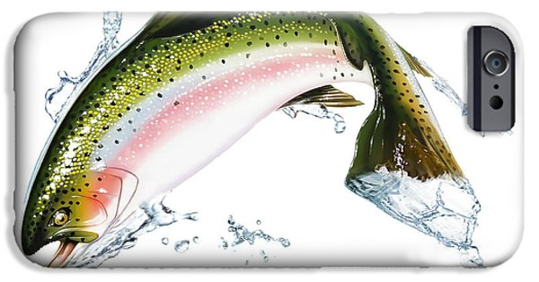 Airbrush iPhone Cases - A Pink Salmon Jumping Out Of The Water iPhone Case by Leonello Calvetti