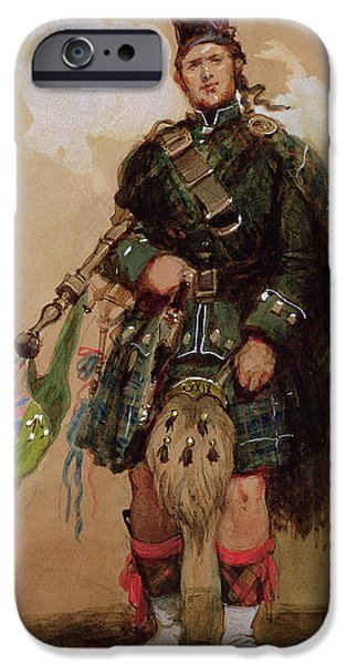 Pride Paintings iPhone Cases - A Piper of the 79th Highlanders at Chobham Camp iPhone Case by Eugene-Louis Lami