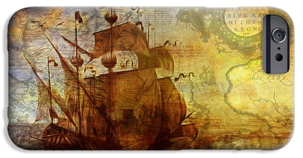 Tall Ship Mixed Media iPhone Cases - A Pirates Life Vintage iPhone Case by Georgiana Romanovna