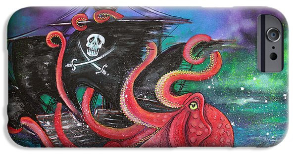 Pirate Ships Paintings iPhone Cases - A Pirates Tale - Attack Of The Mutant Octopus iPhone Case by Laura Barbosa