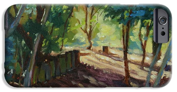 Nature Center Paintings iPhone Cases - A Pleasant Walk iPhone Case by Karen Wadsworth