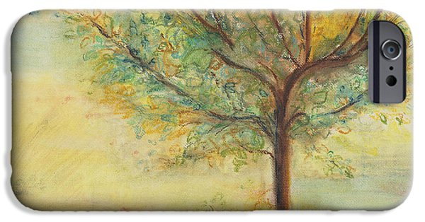 Autumn Landscape Pastels iPhone Cases - A Poem Lovely As A Tree iPhone Case by Helena Bebirian