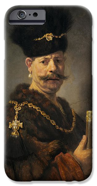 Mustache iPhone Cases - A Polish Nobleman iPhone Case by Rembrandt