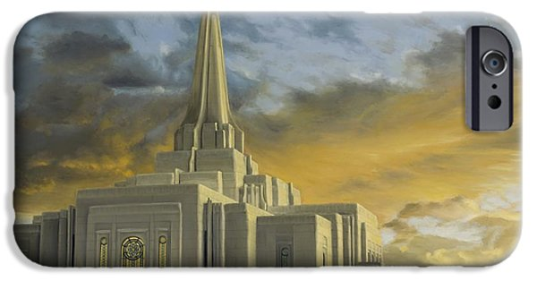 Angel Moroni iPhone Cases - Gilbert Temple iPhone Case by Maci Fuhriman