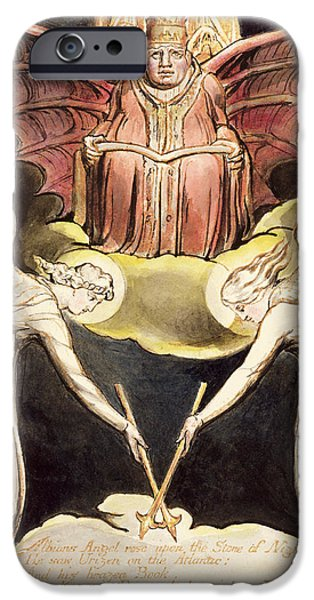 Pope Drawings iPhone Cases - A Priest On Christs Throne iPhone Case by William Blake