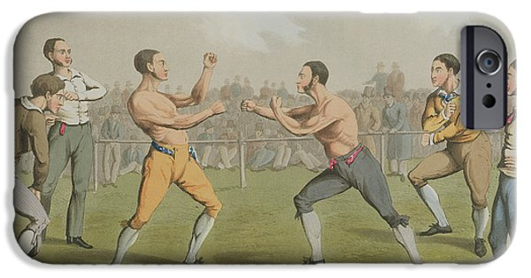 Crowds Paintings iPhone Cases - A Prize Fight aquatinted by I Clark iPhone Case by Henry Thomas Alken
