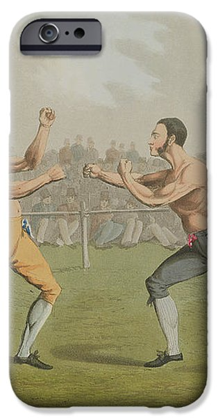 A Prize Fight aquatinted by I Clark iPhone Case by Henry Thomas Alken
