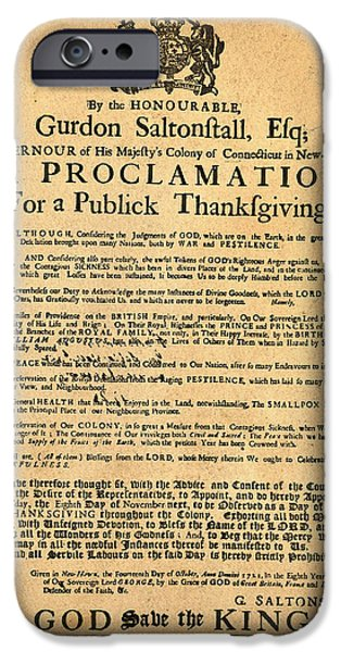 A Proclamation of Thanksgiving iPhone Case by Digital Reproductions