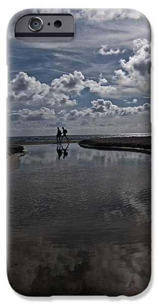 Miracle iPhone Cases - Son Bou beach in Menorca with a cloudy sky - a promenade by the clouds iPhone Case by Pedro Cardona