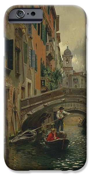 Rubens iPhone Cases - A Quiet Canal iPhone Case by Celestial Images