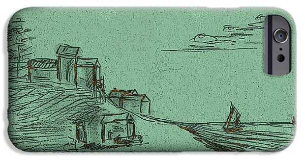 Printmaking iPhone Cases - A Quiet Knoll Along The Sea With Sailboats And Clouds. Green Scape iPhone Case by Cathy Peterson