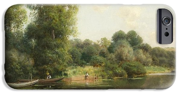 1907 Paintings iPhone Cases - A Quiet Stretch of the River iPhone Case by Sanchez-Perrier