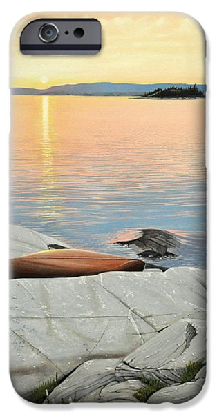 Canoe iPhone Cases - A Quiet Time iPhone Case by Kenneth M  Kirsch
