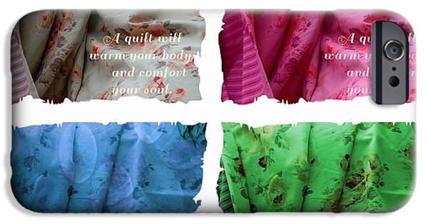 Quilt Blue Blocks iPhone Cases - A Quilt Will Warm Your Body And Comfort Your Soul iPhone Case by Barbara Griffin