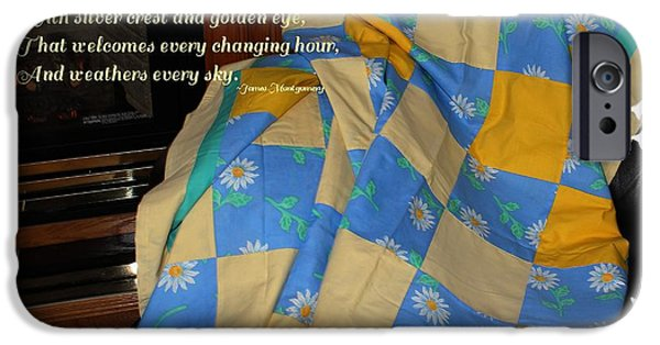 Quilt Blue Blocks iPhone Cases - A Quilt With Daisies and Quote iPhone Case by Barbara Griffin