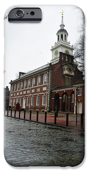 Rainy Day iPhone Cases - A Rainy Day at Independence Hall iPhone Case by Bill Cannon