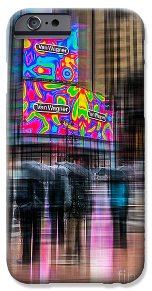 Nyc Rain iPhone Cases - A Rainy Day In New York iPhone Case by Hannes Cmarits